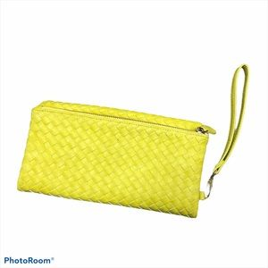 Urban expression yellow vegan wristlet clutch
